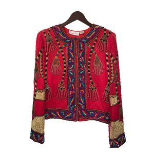 80s Red/gold Heavily Beaded Jacket Size Small